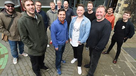 Nick Little, front left, and Oz Osborne, front right, who have started the project The Twelfth Man,