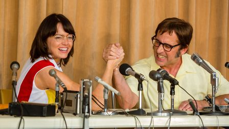 Emma Stone as Billie Jean King and Steve Carell as Bobby Riggs in Battle Of The Sexes. Photo: Fox Se