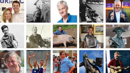 Some of the diverse men that hail from or have an affinity with Norfolk or Suffolk: (left to right f