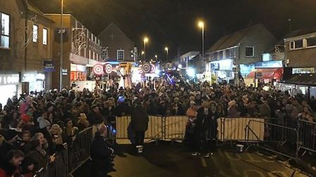 Crowds gather in Gorleston to watch the annual switch on take place. Photo: Kevin Huggins.