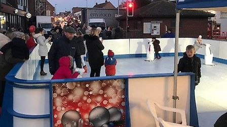 The outdoor ice rink in the high street proved popular at the Gorleston Christmas lights switch on 2
