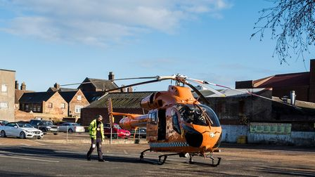 The Magpas Air Ambulance landing at the Church Street car park in King's Lynn. Picture: Jeremy Rodwe