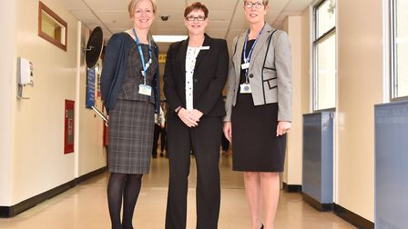 Anna Davidson, Chair of trustees at the James Paget Hospital, Christine Allen, chief exec and Julia