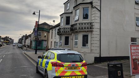 Police on site where a stabbing took place in St Peters Road in Great Yarmouth. Photo: George Ryan