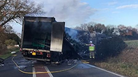 The lorry fire which closed the A134 at Northwold. Picture: EEAST HART