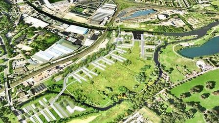 An aerial overview of how the Deal Ground site could look if development happens. Pic: Archant Libra