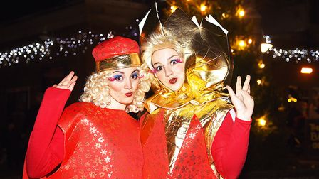Panto stars (L) Elise Whyte and Seren Whyte at the official switching on of the Christmas lights in