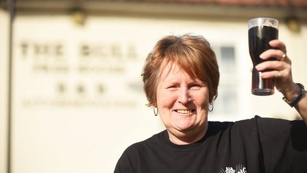 Jane Chapman, pictured after recently reopening The Bull Inn in Fakenham. Picture: Ian Burt