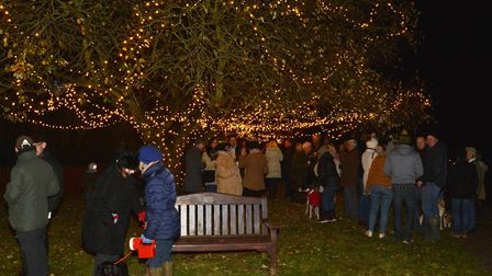 The lights are lit in North Creake for Christmas. Picture: Peter Bird