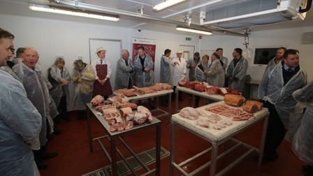 Guests were given demonstrations from butchers at Tony Perkins Butchers' new building. Picture: Rich