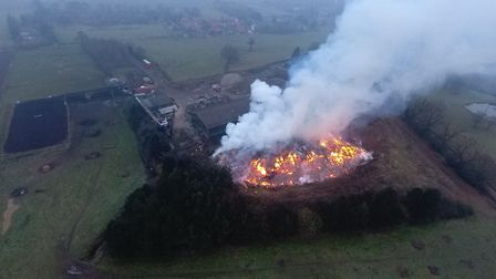 The fire in January photographed by a drone. Picture: Submitted