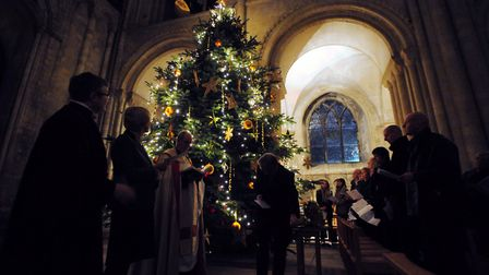 A previous Marie Curie Lights to Remember Service held at Norwich Cathedral .Picture: SIMON FINLAY