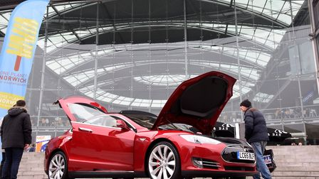 A Tesla hybrid car on display at the One Planet Norwich Festival focusing on sustainability in the F