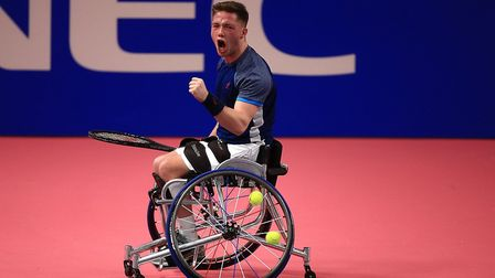 Alfie Hewett in his way to victory over Stephane Houdet. Picture: Tennis Foundatrion