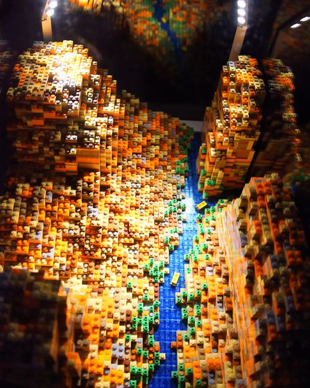 The Grand Canyon, made from 5500 lego bricks, at the Brick Wonders exhibition at the Forum. Picture: