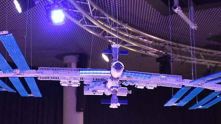 The International Space Station, made from 5000 lego bricks, at the Brick Wonders exhibition at the