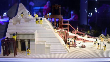 One of the Seven Wonders of the World, the Great Pyramid of Giza, made from 5000 lego bricks, at the