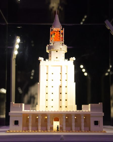 One of the Seven Wonders of the World, the Lighthouse of Alexandria, made from 950 lego bricks, at t