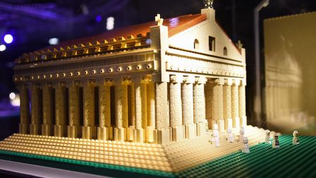 One of the Seven Wonders of the World, the Temple of Artemis, made from 2000 lego bricks, at the Bri