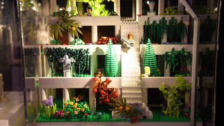 One of the Seven Wonders of the World, the Hanging Gardens of Babylon, made from 1400 lego bricks, a