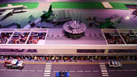 The airport display, made from about 60,000 lego bricks, at the Brick Wonders exhibition at the Foru
