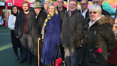 Thetford town councillors with Elizabeth Truss MP supporting Small Business Saturday at Thetford Win