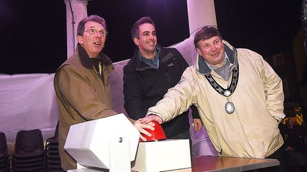 The Swaffham Christmas lights were switched on by (from left) Tony Abel, Paul LeGrice and deputy may