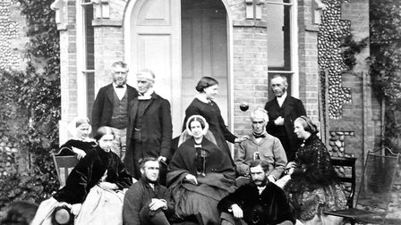 Echoes of History. North Lodge, Cromer circa 1870. John Gurney Hoare and family in front of what is
