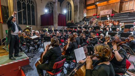 Matthew Andrews conducting the Norwich Philharmonic Orchestra at St Andrew�s Hall. Photo: Bill Smit