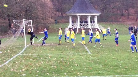 Action from the League Cup game between Woolpack FC (yellow) and Riverside Rovers. Picture: Steve Br