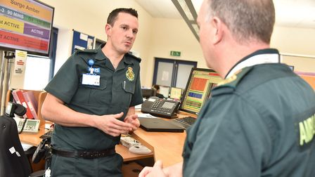 The ambulance control room in Hellesdon. Senior control room manager Paul Vinters talks to Chief Ex