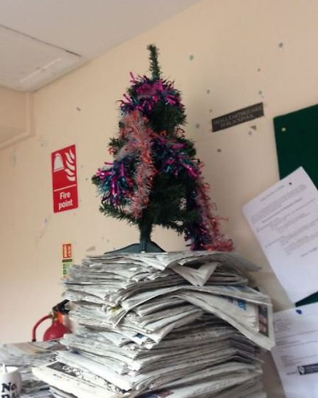 Our very own Chris Bishop's attempt at the office Christmas tree (Photo: Chris Bishop)