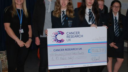 Sir John Leman High School, in Beccles, have raised nearly £60,000 for Cancer Research UK. Photo cou