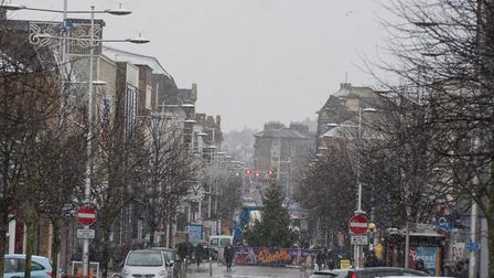 Snow arrives in Lowestoft.Picture: Nick Butcher