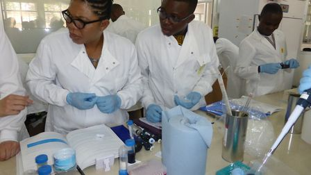 Students and scientists taking part in Dr Edward's workshops in Tanzania. Picture: Anne Edwards
