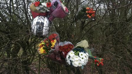 Flowers and gifts were left at the scene of the crash where Nathan Robinson was killed on December 2