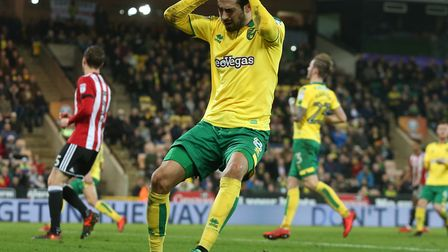 Mario Vrancic of Norwich rues a missed chance during City's defeat to Brentford at Carrow Road. Pict