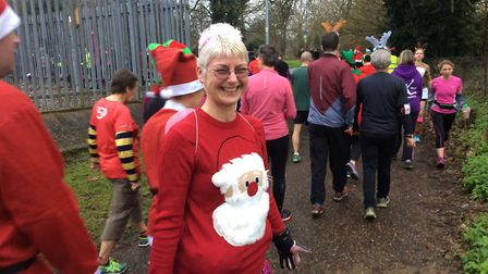 Thetford parkrun particpant Sarah Andrews dressed for Christmas. Picture: Rebecca Murphy