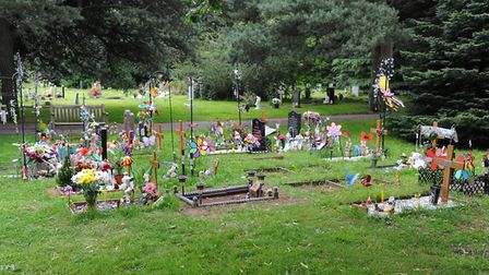 The children's section at Earlham Cemetery. Picture: Denise Bradley