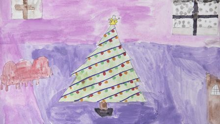 A Christmas tree, by Brooke Kirk-Riseborough, aged 11, and Cara Baldry, aged seven.