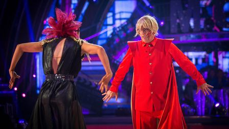 Rev Richard Coles and dancer Diane Buswell perform 'Flash' on Strictly Come Dancing 2017. Photo: Guy
