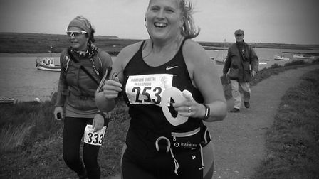 Sarah Glew during the coastal path marathon. Picture: Andy Tabiner
