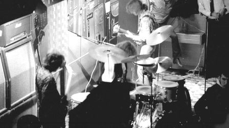 Never before published, this atmospheric shot shows Cream in concert at the Industrial Club, Norwich