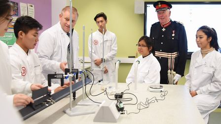The Lord Lieutenant, Richard Jewson, vists the labs and speaks to physics students at INTO UEA, duri
