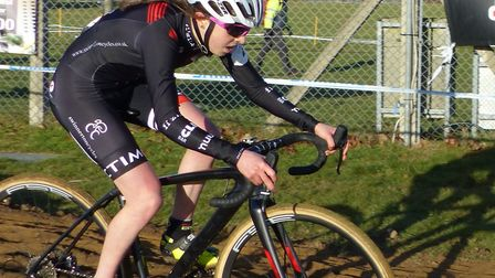 Sophie Wright ploughs a lone furrow to third spot in the Women's race at the National Trophy cyclo-c