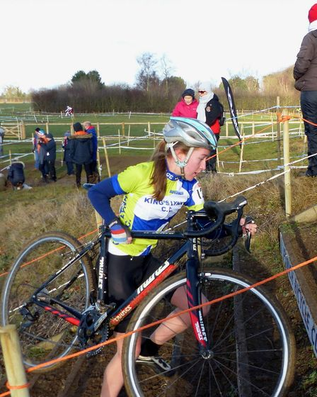 King's Lynn rider Bethany Barnett heads for 12th in the Under 16s at the National Trophy cyclo-cros