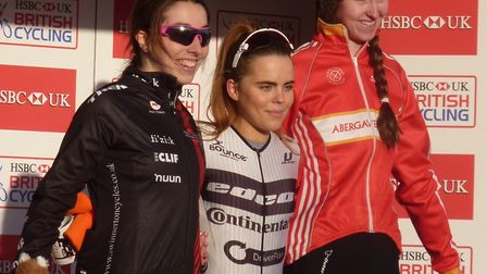 Sophie Wright, left, on the women's podium at the National Trophy cyclo-cross at Ipswich with winner