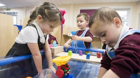 Youngsters using the new nursery building that has been completed at North Denes Primary School, Ya