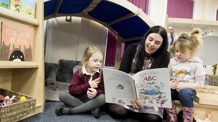 North Denes Primary School Nursery teacher Jennie Bradley reading to youngsters in the newly built s