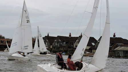 Action from Snowflake Sailing Club on New Year's Eve. Picture: Paddy Wildman